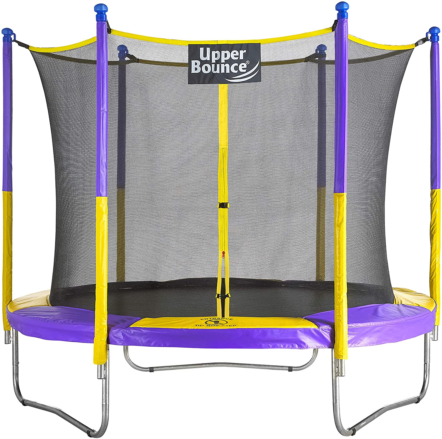 Upper Bounce 9 FT Round Yellow and Purple Trampoline Set with Safety Enclosure System
